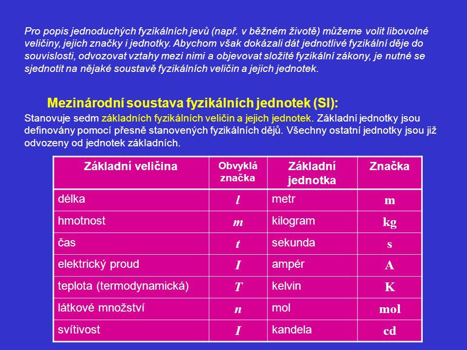 Mezinárodní soustava fyzikálních jednotek (SI):