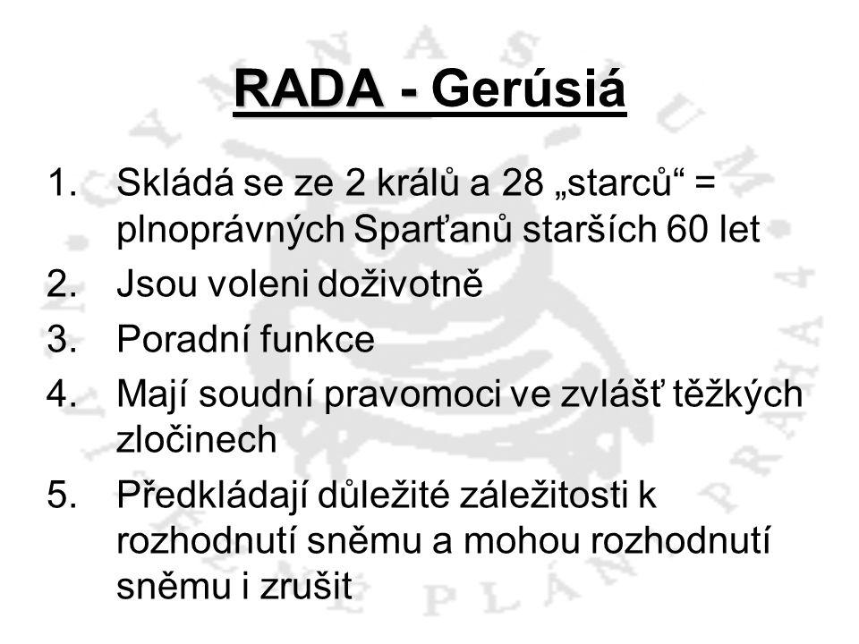 """RADA - Gerúsiá Skládá se ze 2 králů a 28 """"starců = plnoprávných Sparťanů starších 60 let. Jsou voleni doživotně."""