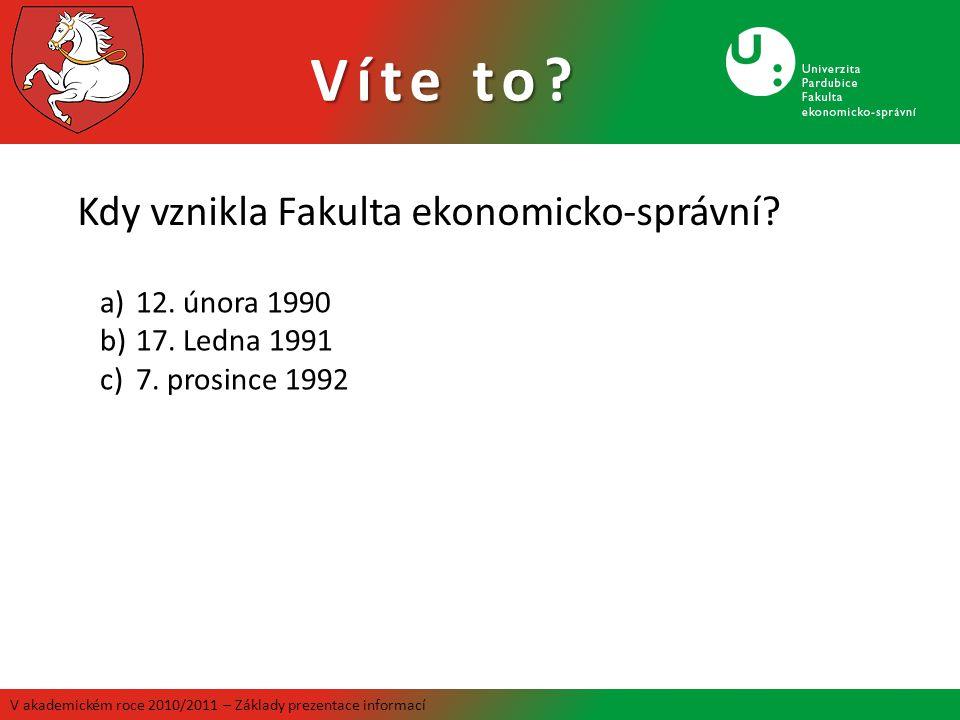 Víte to Kdy vznikla Fakulta ekonomicko-správní 12. února 1990