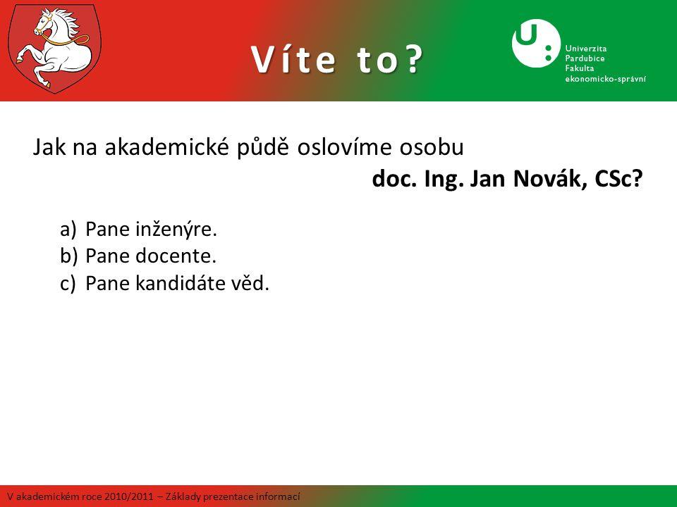 Víte to Jak na akademické půdě oslovíme osobu doc. Ing. Jan Novák, CSc Pane inženýre. Pane docente.