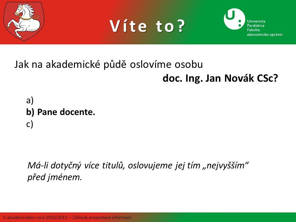 Víte to Jak na akademické půdě oslovíme osobu doc. Ing. Jan Novák CSc Pane docente.