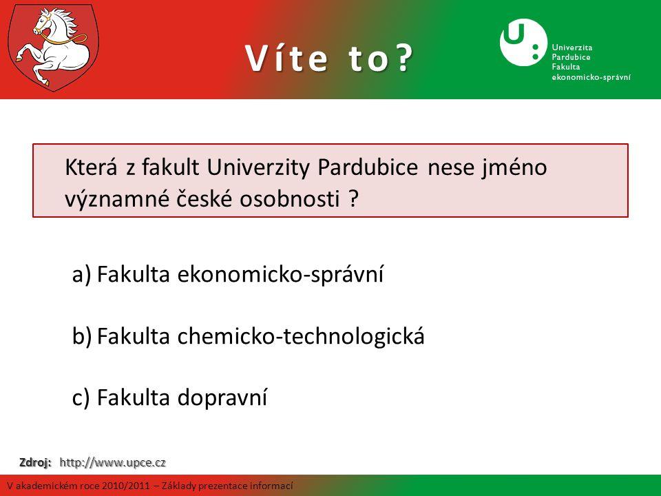 Víte to Která z fakult Univerzity Pardubice nese jméno významné české osobnosti Fakulta ekonomicko-správní.