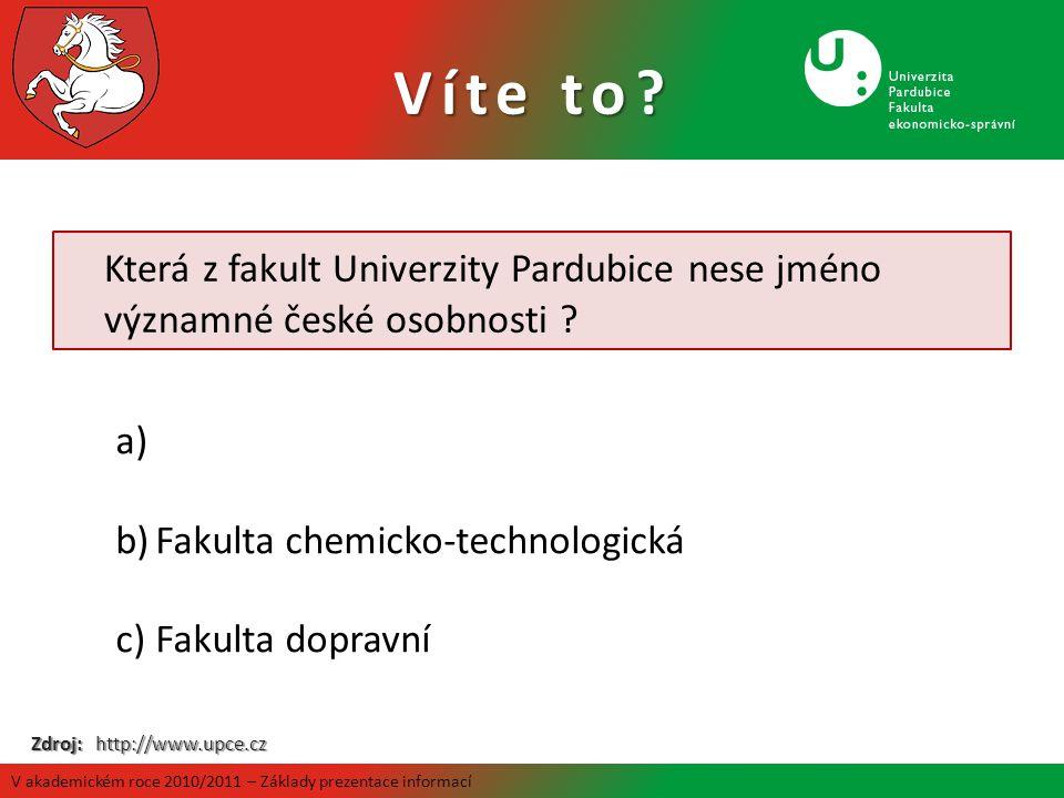 Víte to Která z fakult Univerzity Pardubice nese jméno významné české osobnosti Fakulta chemicko-technologická.