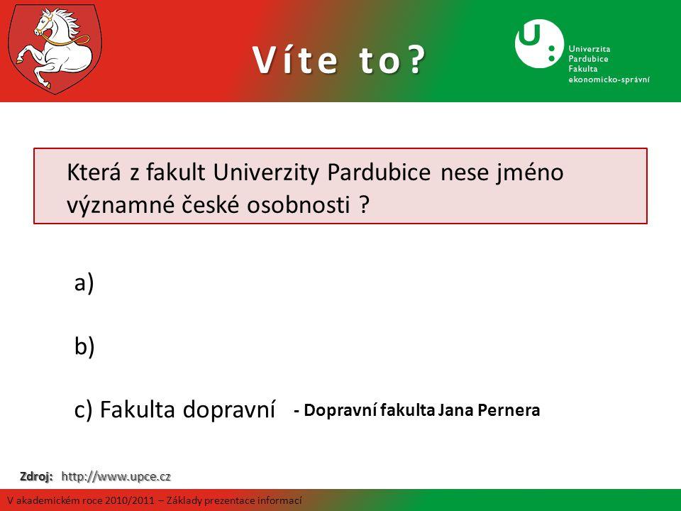 Víte to Která z fakult Univerzity Pardubice nese jméno významné české osobnosti Fakulta dopravní.