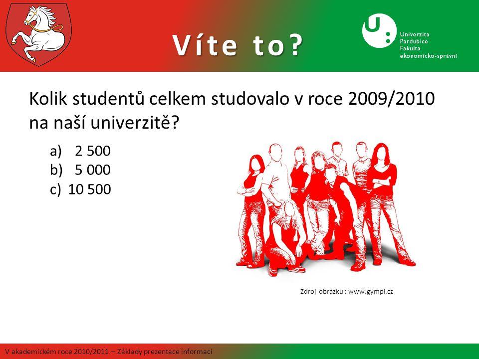 Víte to Kolik studentů celkem studovalo v roce 2009/2010 na naší univerzitě 2 500. 5 000. 10 500.