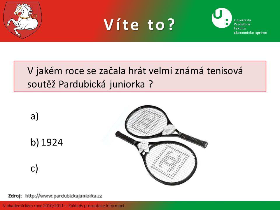 Víte to V jakém roce se začala hrát velmi známá tenisová soutěž Pardubická juniorka 1924. Zdroj: http://www.pardubickajuniorka.cz.