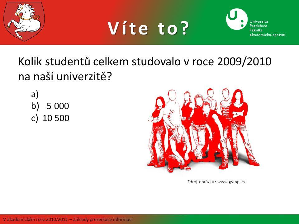 Víte to Kolik studentů celkem studovalo v roce 2009/2010 na naší univerzitě 5 000. 10 500. Zdroj obrázku : www.gympl.cz.