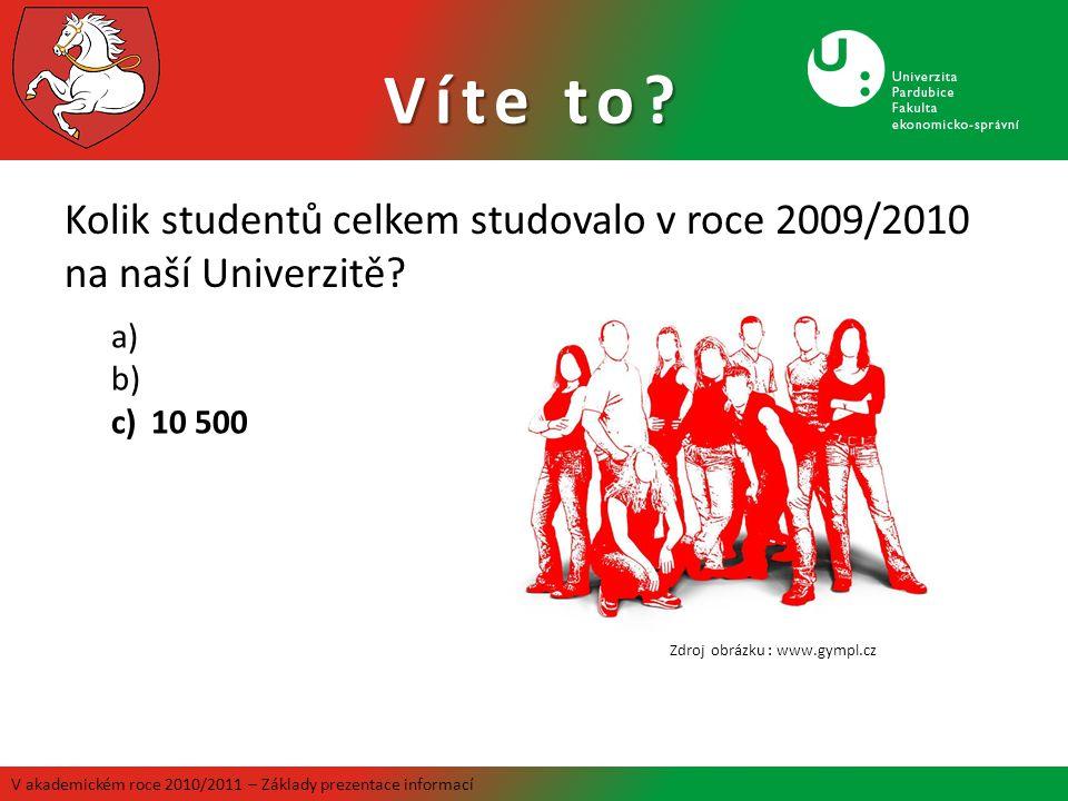 Víte to Kolik studentů celkem studovalo v roce 2009/2010 na naší Univerzitě 10 500. Zdroj obrázku : www.gympl.cz.