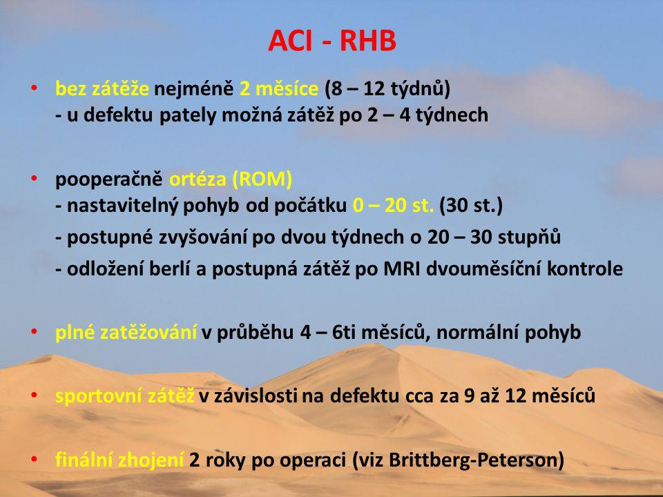 ACI - RHB bez zátěže nejméně 2 měsíce (8 – 12 týdnů) - u defektu pately možná zátěž po 2 – 4 týdnech.