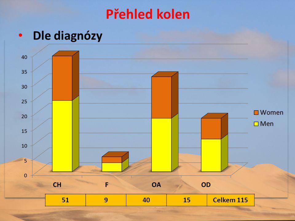 Přehled kolen Dle diagnózy 51 9 40 15 Celkem 115