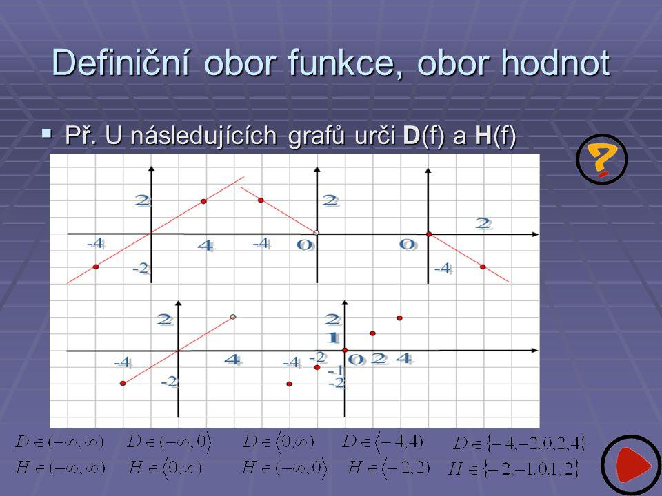 Definiční obor funkce, obor hodnot