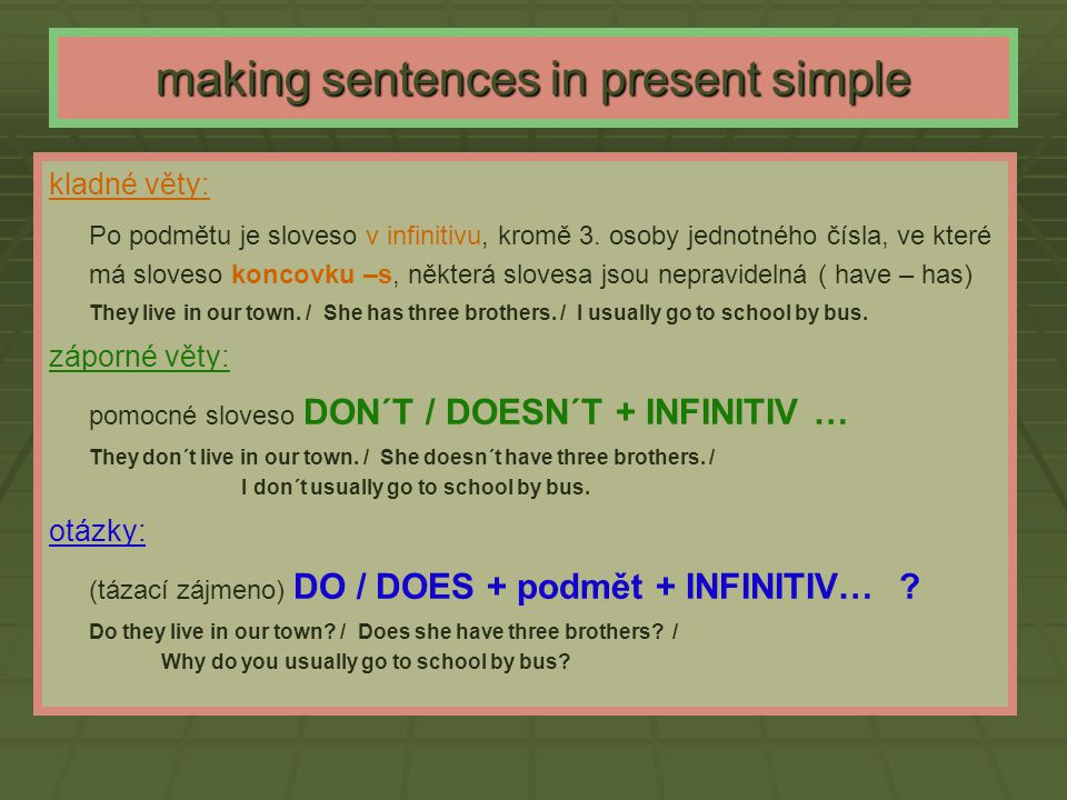 making sentences in present simple