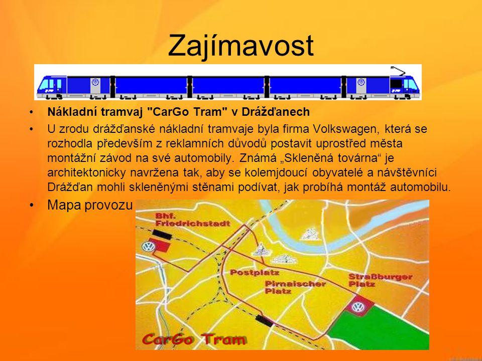 Zajímavost Mapa provozu Nákladní tramvaj CarGo Tram v Drážďanech