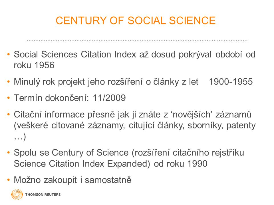 CENTURY OF SOCIAL SCIENCE