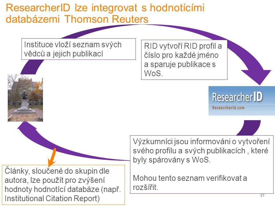 ResearcherID lze integrovat s hodnotícími databázemi Thomson Reuters