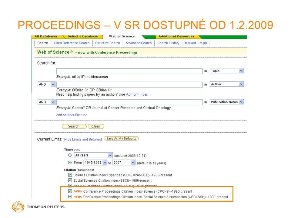 PROCEEDINGS – V SR DOSTUPNÉ OD 1.2.2009
