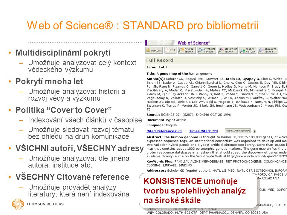 Web of Science® : STANDARD pro bibliometrii