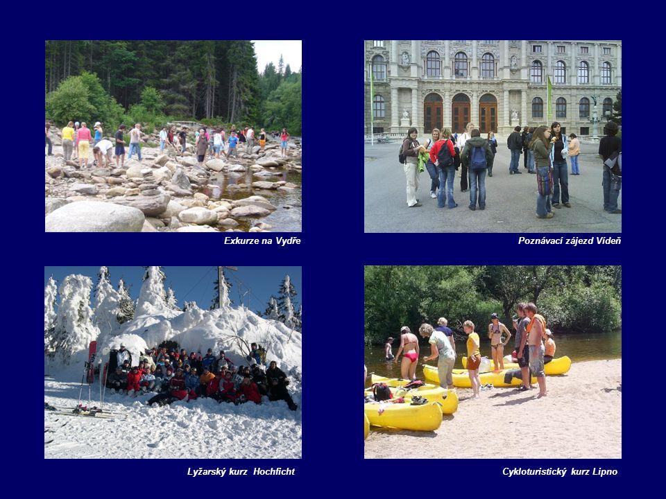 Exkurze na Vydře Poznávací zájezd Vídeň Lyžarský kurz Hochficht Cykloturistický kurz Lipno