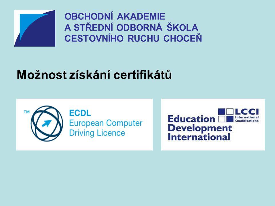 Možnost získání certifikátů