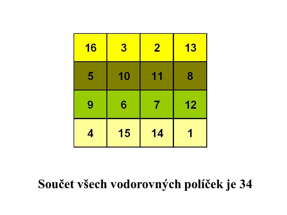 Součet všech vodorovných políček je 34