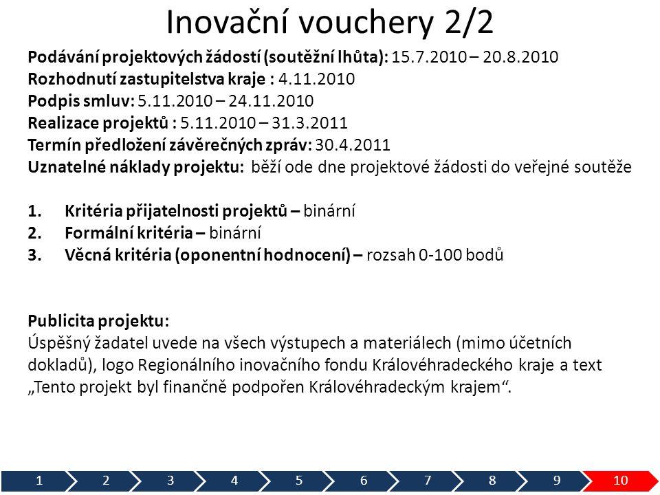 Inovační vouchery 2/2 Podávání projektových žádostí (soutěžní lhůta): 15.7.2010 – 20.8.2010. Rozhodnutí zastupitelstva kraje : 4.11.2010.
