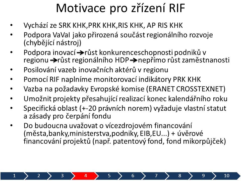 Motivace pro zřízení RIF