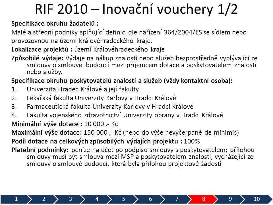 RIF 2010 – Inovační vouchery 1/2