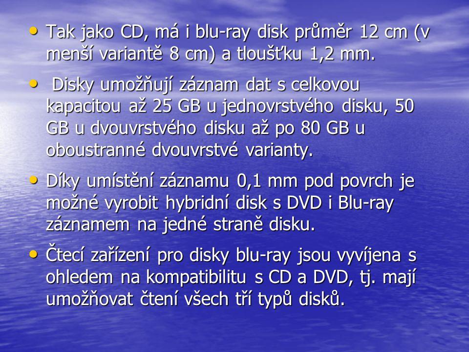 Tak jako CD, má i blu-ray disk průměr 12 cm (v menší variantě 8 cm) a tloušťku 1,2 mm.