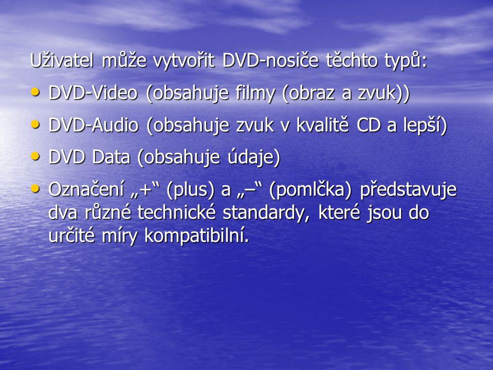 Uživatel může vytvořit DVD-nosiče těchto typů: