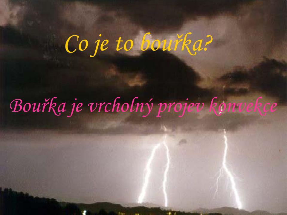 Co je to bouřka Bouřka je vrcholný projev konvekce