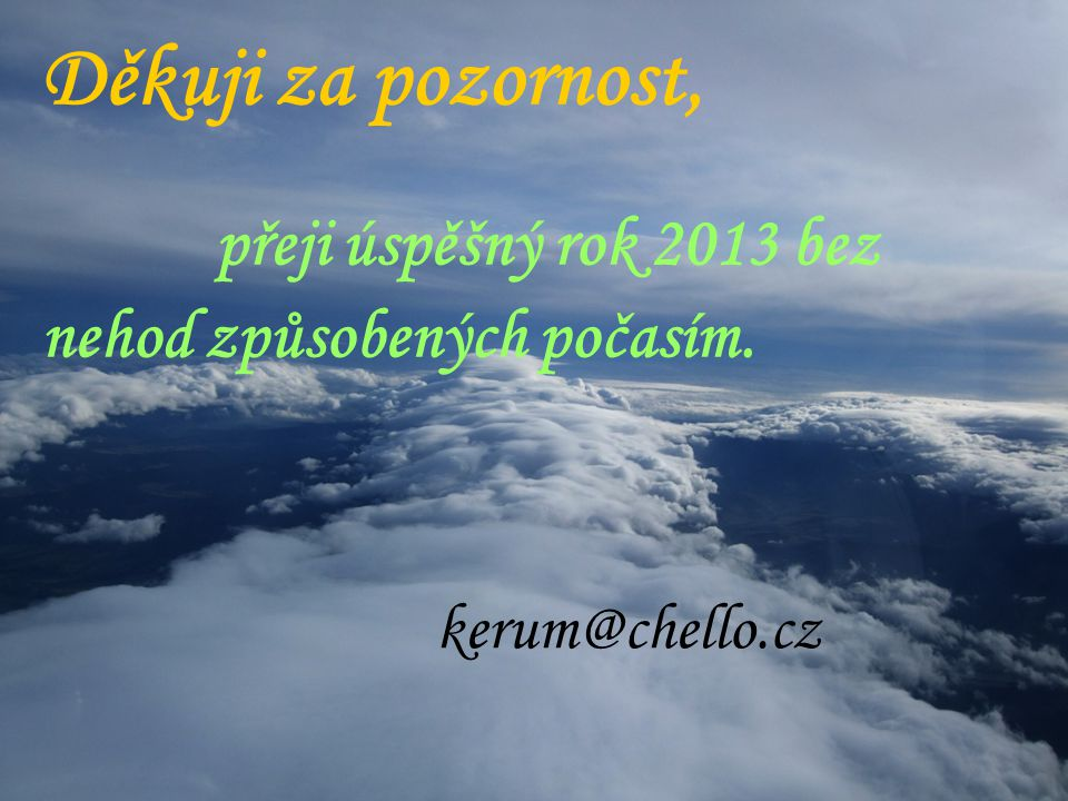 přeji úspěšný rok 2013 bez nehod způsobených počasím.