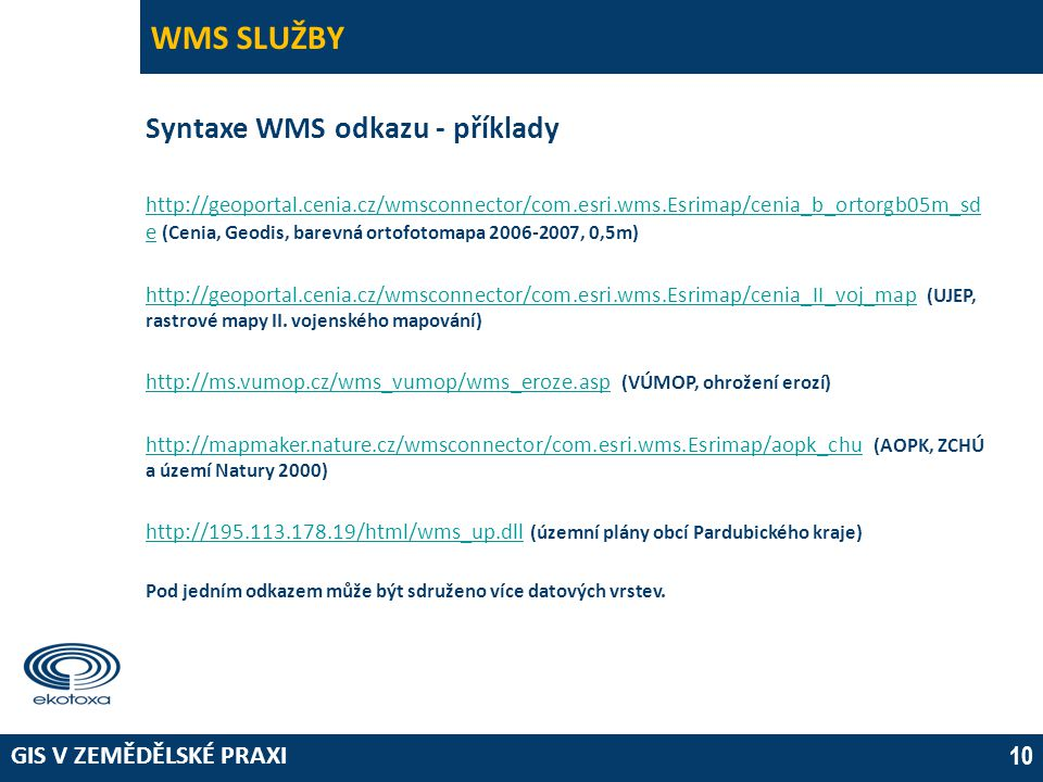 WMS SLUŽBY Syntaxe WMS odkazu - příklady