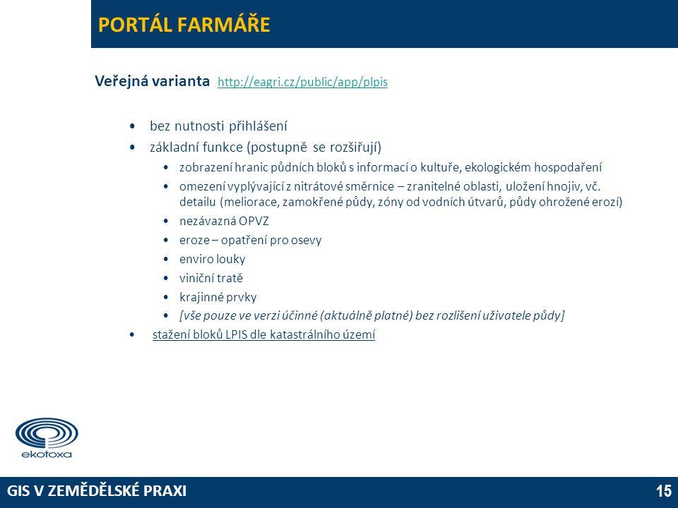 PORTÁL FARMÁŘE Veřejná varianta http://eagri.cz/public/app/plpis