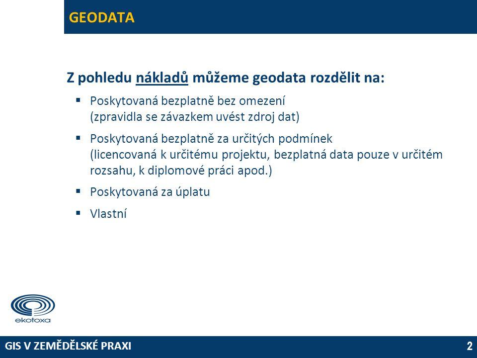 Z pohledu nákladů můžeme geodata rozdělit na: