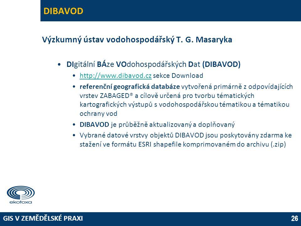 DIBAVOD Výzkumný ústav vodohospodářský T. G. Masaryka