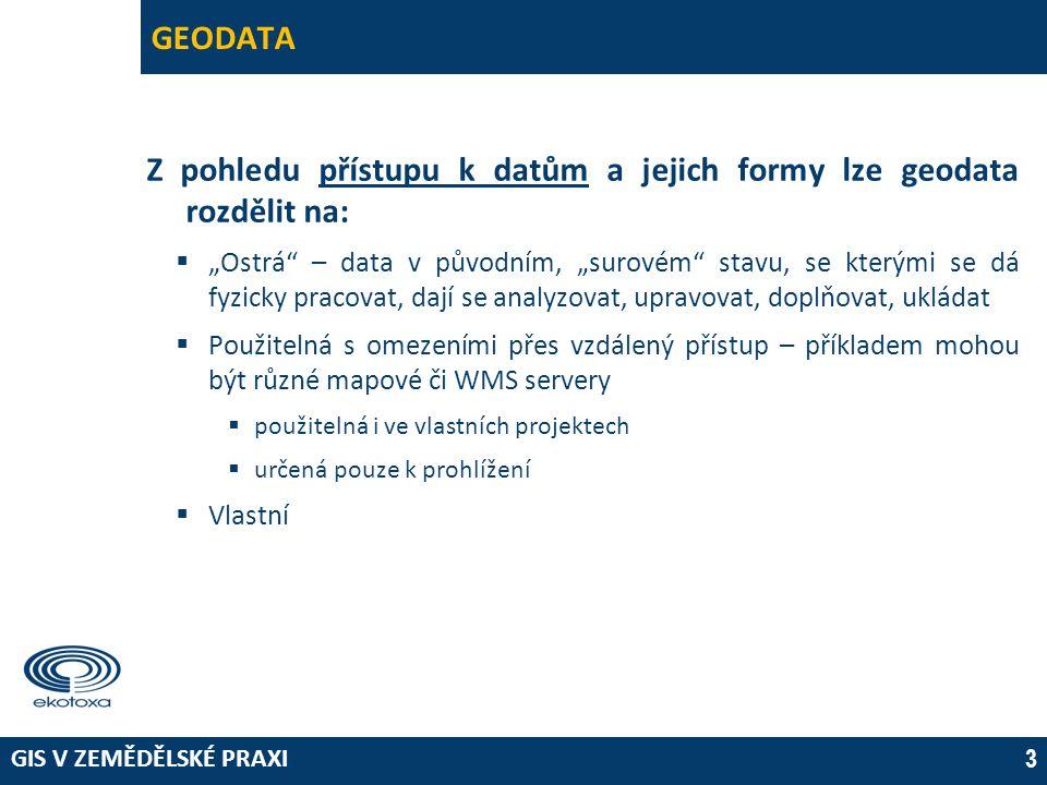 Z pohledu přístupu k datům a jejich formy lze geodata rozdělit na: