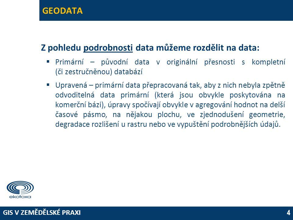 Z pohledu podrobnosti data můžeme rozdělit na data: