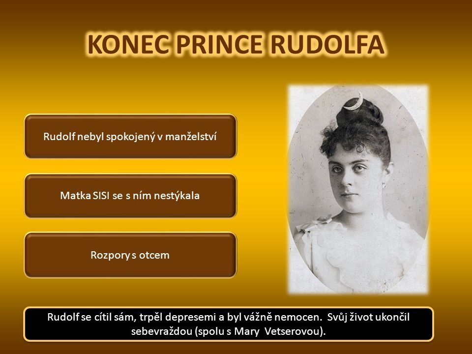 KONEC PRINCE RUDOLFA Rudolf nebyl spokojený v manželství
