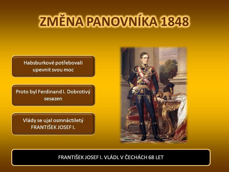 ZMĚNA PANOVNÍKA 1848 Habsburkové potřebovali upevnit svou moc