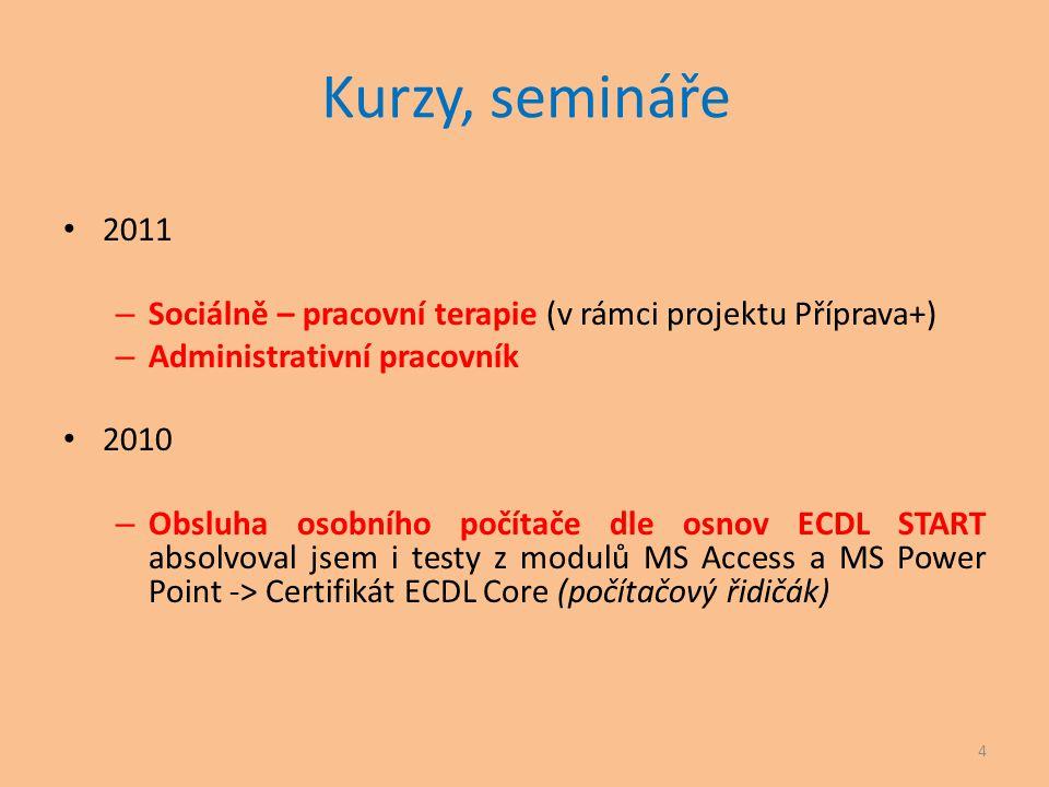 Kurzy, semináře 2011. Sociálně – pracovní terapie (v rámci projektu Příprava+) Administrativní pracovník.
