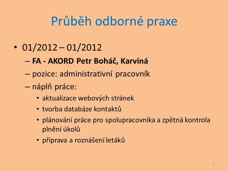 Průběh odborné praxe 01/2012 – 01/2012 FA - AKORD Petr Boháč, Karviná