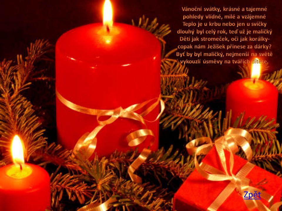 Vánoční svátky, krásné a tajemné pohledy vlídné, milé a vzájemné Teplo je u krbu nebo jen u svíčky dlouhý byl celý rok, teď už je maličký Děti jak stromeček, oči jak korálky- copak nám Ježíšek přinese za dárky Byť by byl maličký, nejmenší na světě vykouzlí úsměvy na tvářích dítěte.