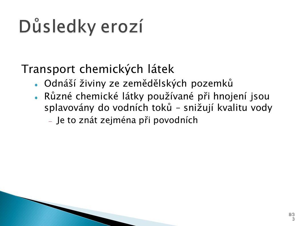Důsledky erozí Transport chemických látek