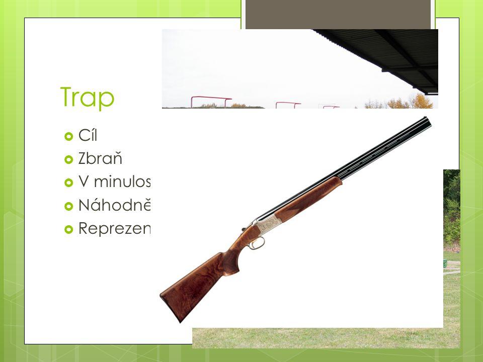 Trap Cíl Zbraň V minulosti na živé holuby Náhodně vystřelí (vrhačka)