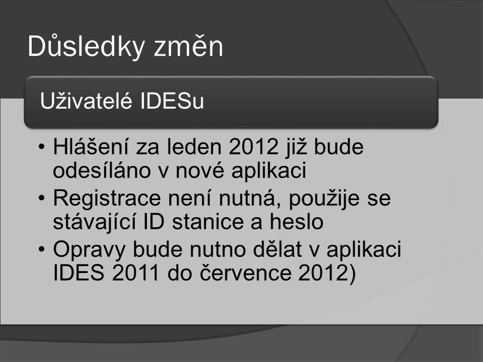 Důsledky změn Hlášení za leden 2012 již bude odesíláno v nové aplikaci