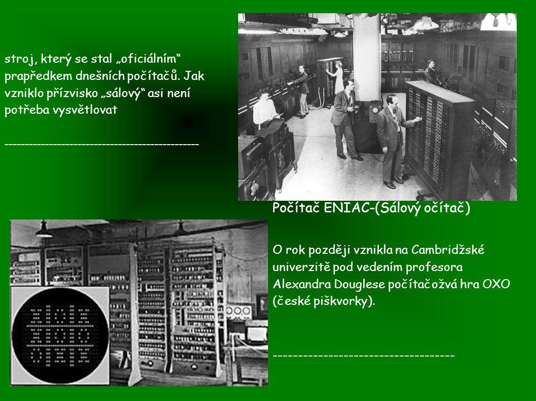 Počítač ENIAC-(Sálový očítač)