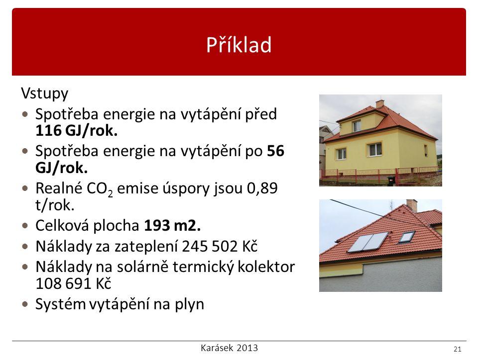 Příklad Vstupy Spotřeba energie na vytápění před 116 GJ/rok.