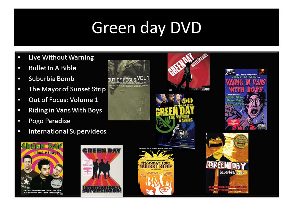 Green day DVD Live Without Warning Bullet In A Bible Suburbia Bomb