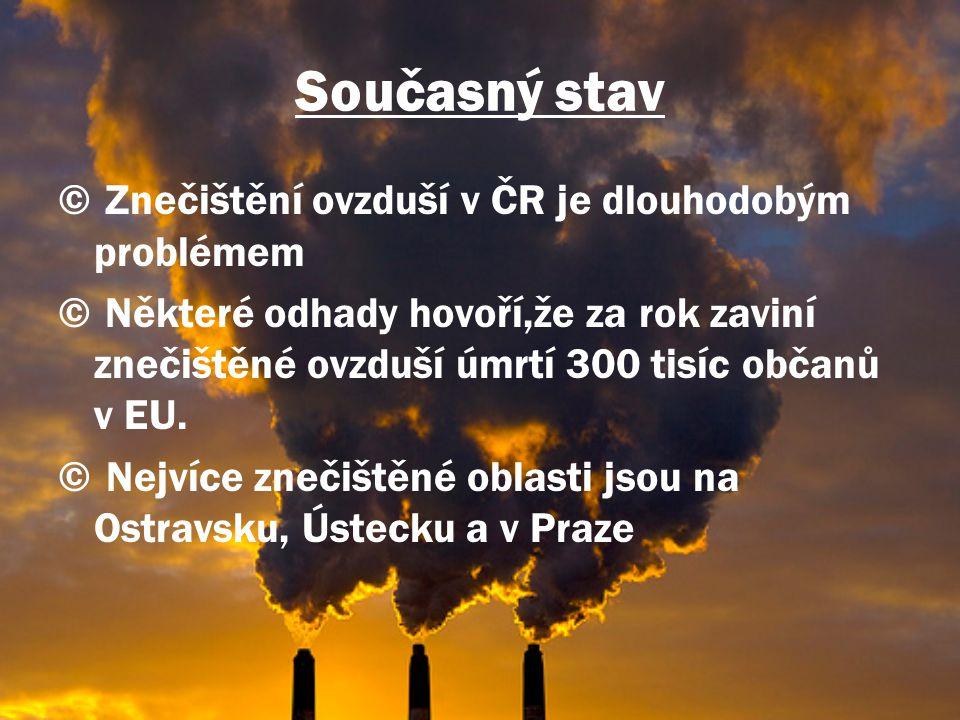 Současný stav Znečištění ovzduší v ČR je dlouhodobým problémem