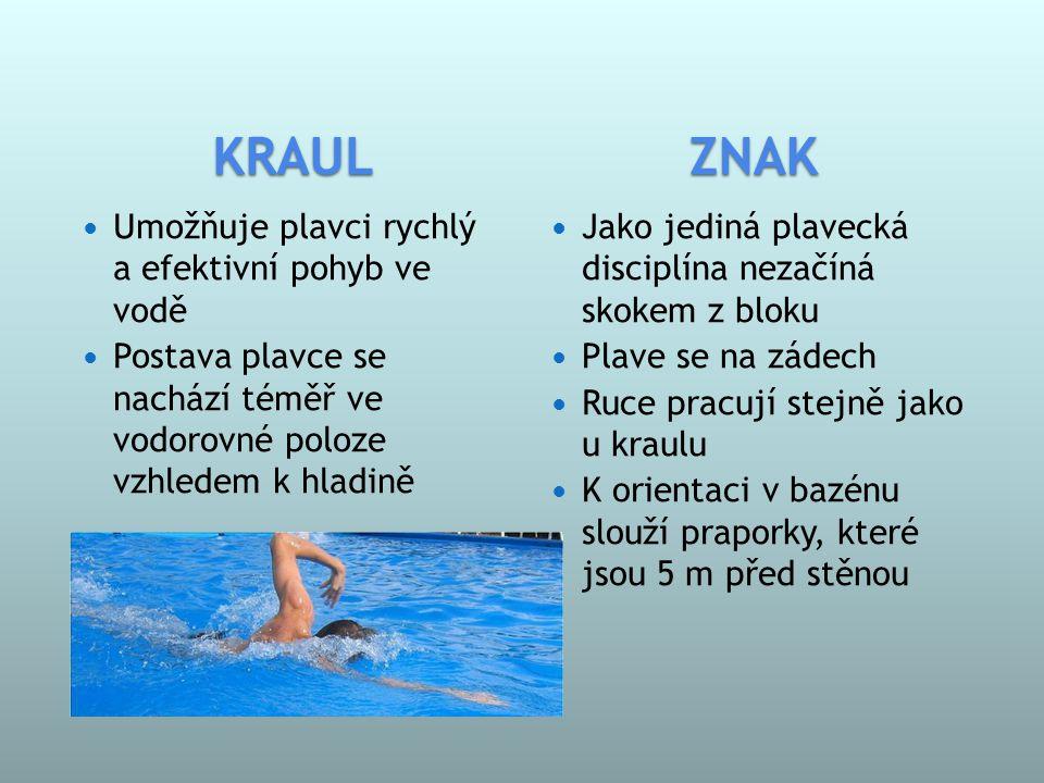 KRAUL ZNAK Umožňuje plavci rychlý a efektivní pohyb ve vodě